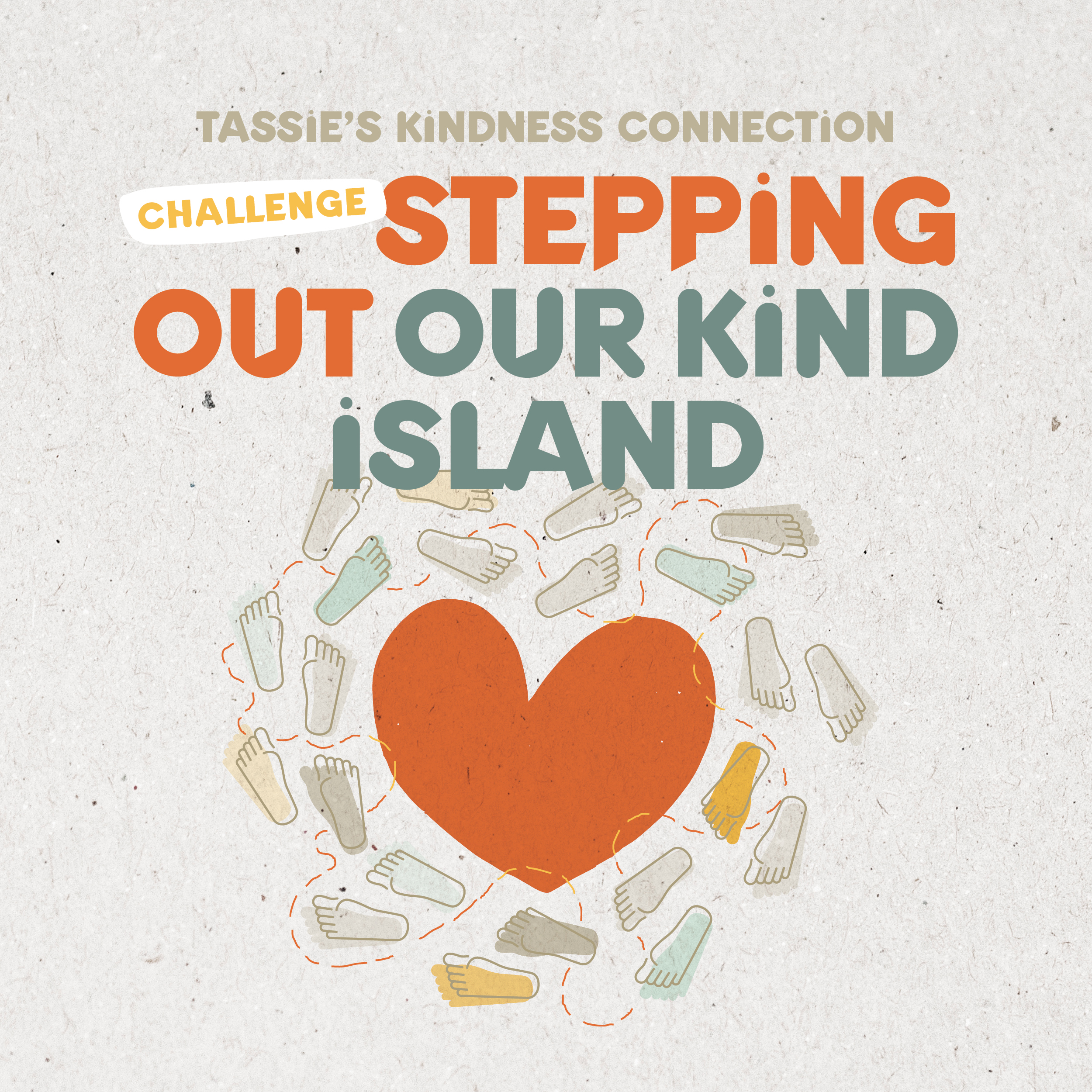 Tasmania surrounded by an ocean of steps as a graphic to illustrate Tassie's Kindness Connectcion's Stepping Out Our Kind Island activity