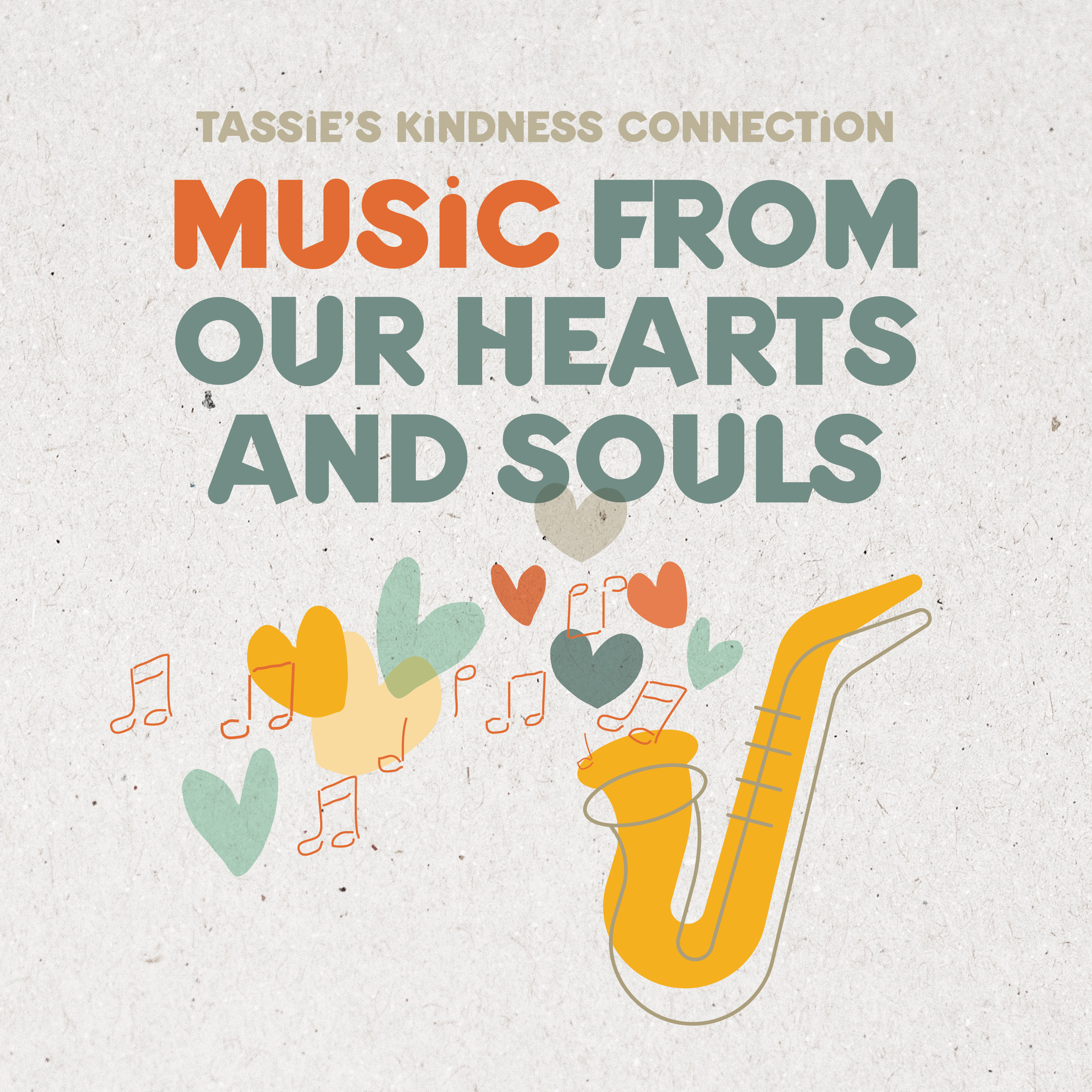 graphic of a saxaphone blowing hearts to illustrate Tassie's Kindness Connectcion's Music From Our Hearts and Souls