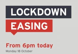 Lockdown in Southern Tasmania will ease from 6pm on Monday, 18 October. preview image